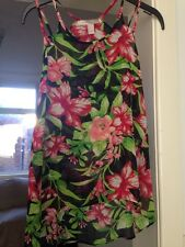 Forever 21 Love Label Floral Black Red And Green Vest Top Floaty Pretty Size XS