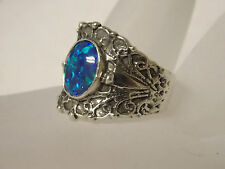1ct blue green opal wide band antique 925 sterling silver ring size 7.5