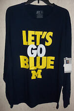 """NWT MENS UNIVERSITY OF MICHIGAN WOLVERINES """"LET'S GO BLUE """" T-SHIRT  SIZE L"""