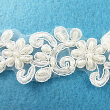 1 METRE CREAM / IVORY BEADED LACE BRIDAL WEDDING TRIM TRIMMINGS 40mm WIDTH HL44