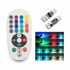 2X T10 6SMD RGB Changing Car Interior Atmosphere LED Bulb Light + Remote Control