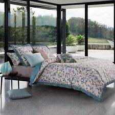 KAS AUSTRALIA ELSBURY 3PC SET, 1 QUEEN DUVET COVER, 2 QUEEN SHAMS SEAFOAM LEAFS