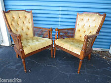 PAIR LIbrary Chairs French Provincial Country 2 Fauteuil Hollywood Regency Cane