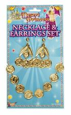 DESERT ALADDIN PRINCESS JASMINE GOLD COIN JEWEL EARRINGS NECKLACE FANCY DRESS