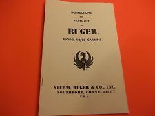 1964 RUGER Model 10/22  RIFLE Carbine INSTRUCTION MANUAL & PARTS LIST -  8 Pages