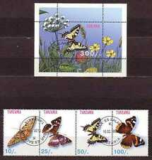 Butterfly Tanzania S/S+4 stamps 1998