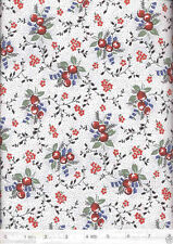 Favorite Things Berries & Flowers White Quilt Fabric - Free Shipping - 1 Yard