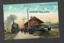WI Evansville Wisconsin C & N W Railway Depot Train Tracks People Posted 1918