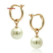Elegant 18k Rose Gold Filled Bridal Huggies Hoop Dangle Pearl Drop Earring IE80