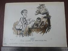 "ROBIN DAY TELEVISION . Pen & Ink orig 20thC illus""Bill Hewison"" Art Editor Punch"
