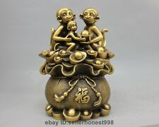 12 China Pure Bronze Copper Fengshui Wealth sack 3 Monkey family Animal Statue