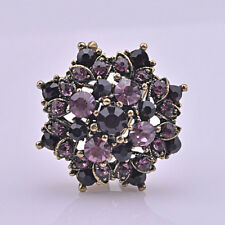 Charm Purple CZ Rhinestone Flower Ancient Bronze Plated Adjustable Club Ring