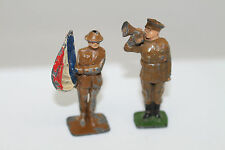 2 x VINTAGE LEAD DIECAST SOLDIERS WW1 WW2? BUGAL CRESCENT -  RARE FLAG JOHILLCO