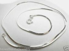 """1mm Italian Sterling Silver Diamond Cut DC Square Snake Chain Necklace 16"""" #2"""