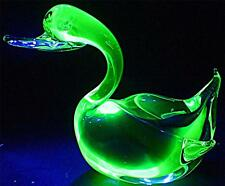 STUNNING LARGE FAT RETRO MURANO ART GLASS URANIUM GREEN BLUE BIRD DUCK 19cm LONG