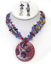 Designer-Style Red Purple Cream Round Murano Glass Chip Stone  Necklace Set