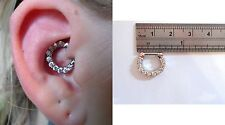 Surgical Steel Clear Crystal Hoop Barbell Daith Jewelry 16 gauge 16g
