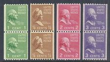 1939 US Vertical Coil Pairs Presidents / Prexy 839-842 Perf 10 MNH F/VF-VF*