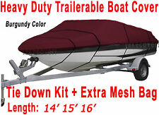 14' 15' 16' V-Hull Fish - Ski Boat Cover Trailerable Burgundy color B3266R
