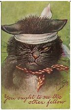 """You Ought To See The Other Fellow"" Cat Artist Signed Thiele Postcard 1909"
