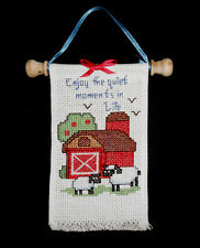 Completed ENJOY THE QUIET MOMENTS IN LIFE Cross Stitch Banner Red Barn Sheep