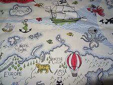 "SANDERSON ""TREASURE MAP"" 3.7 metres world Island map curtain upholstery fabric s"