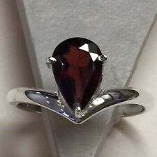 Natural 2ct Fire Garnet 925 Solid Sterling Silver Solitaire Pear Ring sz 7.75