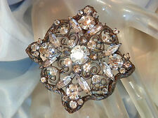 Very Fab Vintage 40's Navette Rhinestone Star Snow Flake Ice Brooch 53f7