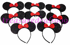 MINNIE MOUSE EARS HEADBANDS * 8 PCS * BLACK RED BOW PARTY FAVORS COSTUME MICKEY