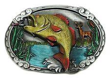 Hebilla de cinturón de Pesca Perca pescado con fondo escénico auténtico Hebillas J C &