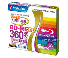3 Verbatim Bluray Blank BDs 50 GB BD-RE DL Inkjet Printable 2x Speed  Dual Layer