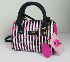 NWT LUV BETSEY BY B. JOHNSON WOMEN PINK KISS QUILTED MINI BARREL CROSSBODY BAG