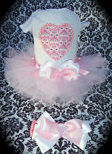 NEW 3pc tutu skirt set Infant girl 6m Pink beaded pearl Heart