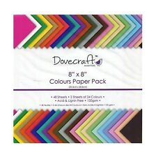 "8 x 8"" DOVECRAFT SCRAPBOOKING CRAFT PAPER ASSORTED COLOURS DECORATION TRDCDP60"
