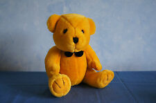 "Steven Smith gold golden teddy bear black bowtie 9"" plush stuffed animal VGUC"