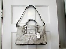 Coach Ashley Signature Lurex Satin and Leather Shoulder Satchel F15804 NWT Silve
