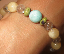 LARIMAR ATLANTISITE GOLDEN RUTILATED QUARTZ DOMINICAN BLUE AMBER BRACELET