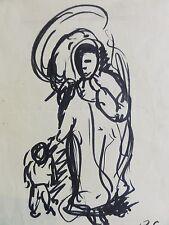 Barthel GILLES (1891-1977) Filz-? Stiftzeichnung: WANDERER MIT KIND BEI UNWETTER