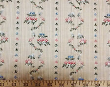 Drapery Upholstery Fabric Panel Striped Embroidered Floral Vine - Golden Beige