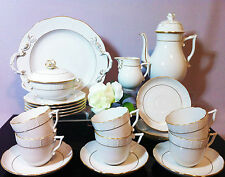 HEREND HADIK WHITE-GOLDEN CAPUCCINO and DESSERT SET 6 PERSONS LIKE A NEW 21 pcs