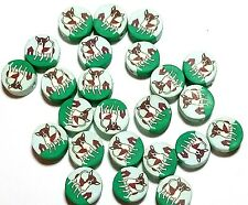 New 25 Chihuahua Dog Polymer Clay Coin Round Fimo Beads Free Shipping 12mm