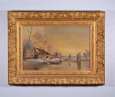Antique Flemish Oil on Panel Painting Winter Landscape by J. Straver