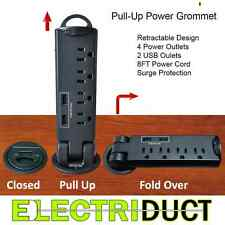 Desktop Desk Outlet Table Pull-Up 4 AC Power & 2 USB Tap Grommet Surge Protector