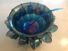 VTG INDIANA GLASS BLUE CARNIVAL PUNCH BOWL COMPLETE SET 26pc Hooks, cups, ladder