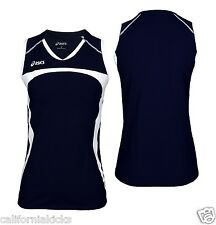 ASICS Wmns Ace Sleeveless Jersey sz L Large Navy White Volleyball Tennis NEW