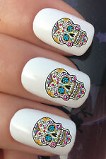 NAIL ART SET #649 x24 COLOURFUL SUGAR SKULL WATER TRANSFER DECALS STICKERS