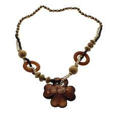 Exquisite Ethnic Style Wood Cross Flower Pendant Wood Beads Long Necklace Gift