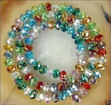 DIY Faceted Rondelle Bicone Glass Crystals Jewelley Beads 6mm AB multicolor NEW2