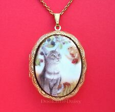 CATS Porcelain GRAY CAT & SQUIRREL CAMEO Costume Jewelry Locket Pendant Necklace