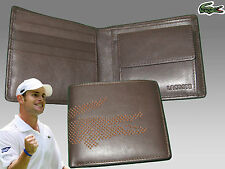 New Authentic LACOSTE LEATHER WALLET Punched Croc 6 Brown Small Billfold +CP